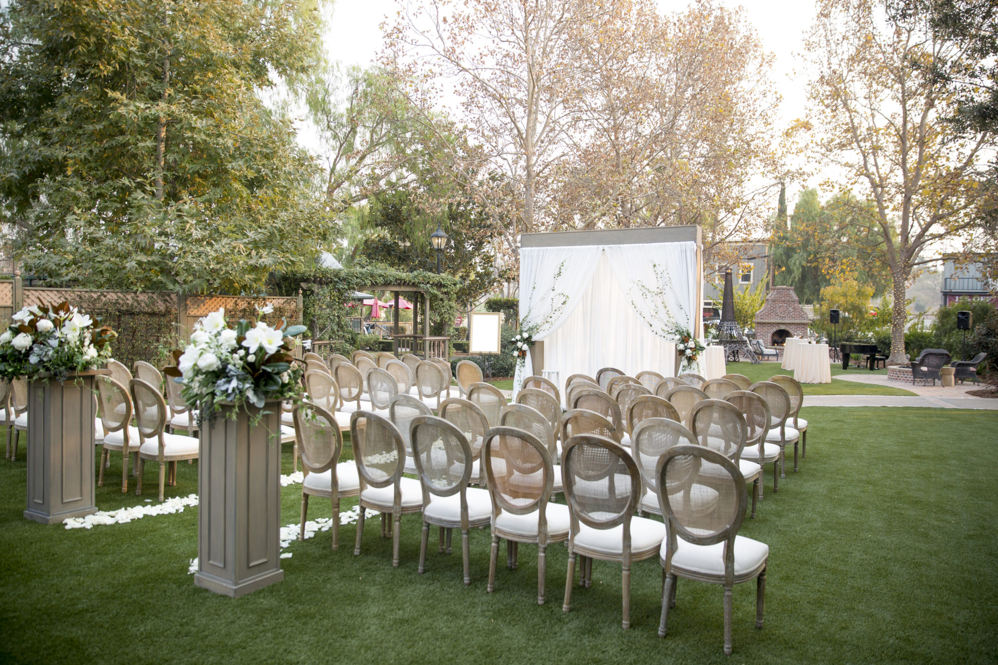 Garden Area outdoor wedding ceremony setup